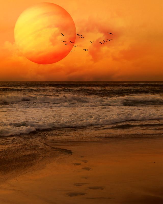 #beach #orange #nature #ocean #edited #hue #blending #photomanipulation #madewithpicsart