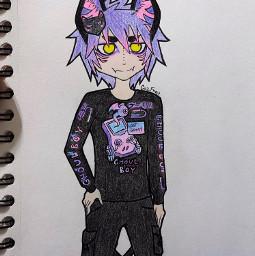 freetoedit cazfhey draw drawing cute kawaii art artist anime animeboy doodle oc outfit spooky vaporwave ghoul kitsune fox foxboy catboy nekoboy techwear streetwear streetfashion streetgoth