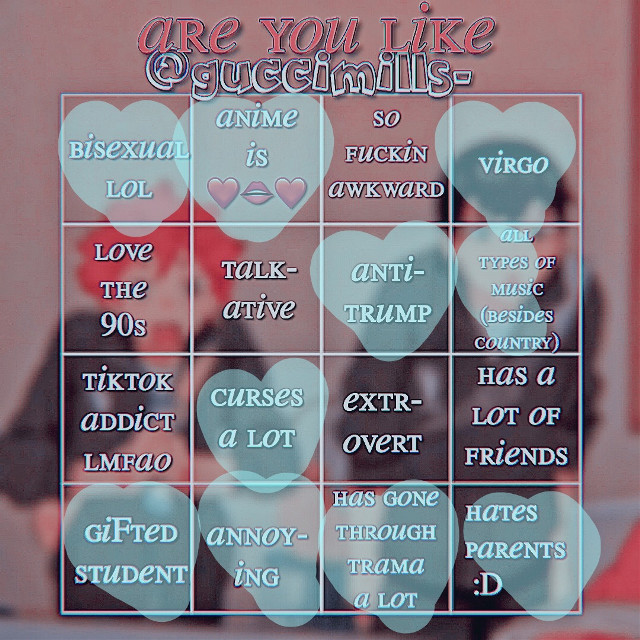 I like all types of music rlly so I only put half. I love country  ·¬·(tagzz)·¬· @hypehousefan1155 @donut6232 @love_me_plz_    Also thnxs @guccimills-  4 the awesome bingo thinggy