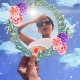 espejo mirror picsart trend oldtrend sky girl idk flowers hand