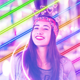 yup_sup neongirl neon pink purple blue rainbow red hearts girl aesthetic lines moon neonmoon freetoedit