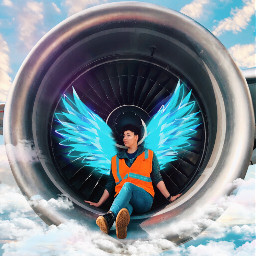 wings angel clouds airplane sky me engine blue turquoise srcneonwings neonwings freetoedit