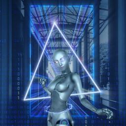 freetoedit neon neonlights robot robotic