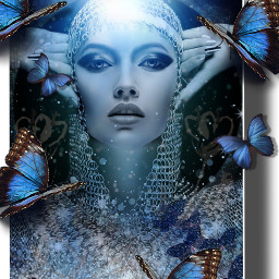 kinora myedit galaxy female woman butterflies blue light bluelightning silver silverglitter blackandwhite face shadow shadowframe freetoedit