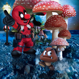 freetoedit mario supermario nintendo deadpool marvel fanart mushrooms videogames supermoon alienized wallpaper uhd redrawn editedwithpicsart