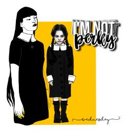 wednesdayaddams grown young addamsfamily gothgirl myedit tvcharacter drawing graphicart black yellow freetoedit
