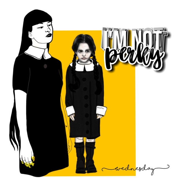 #wednesdayaddams #grown and #young #addamsfamily #gothgirl #myedit for fun. #tvcharacter #drawing #graphicart 🖤🕯️#black #yellow #freetoedit