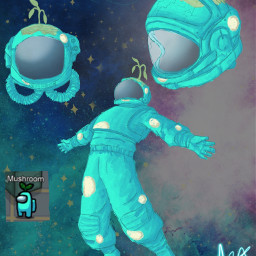 freetoedit art artist artistic instaart instaartist drawing draw sketch sketching sketchbook illustration illustrator illustrate amongus cyan imposter cyantheimposter mushroom astronaut amongusgame fanart