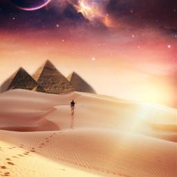 freetoedit desert myedit editedbyme madewithpicsart makeawesome surreal man araceliss piramide galaxy nature sky sunset heypicsart