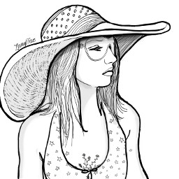 sunhat beachlife californiagirl drawing outline outlines outlineart portrait sketch illustration trendygirl hat girl lineart colorme freetoedit
