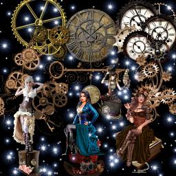 steampunk girls gears hats clocks freetoedit