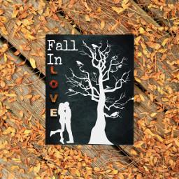 fallinlove fall love chalk chalkboard silhouette white leaves leaf tree lovefall ircchalkboarddesign chalkboarddesign freetoedit