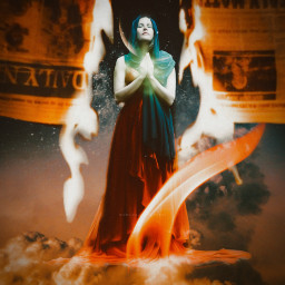 freetoedit fire orange witch woman space galaxy galaxyedit magic magical surreal surrealism papicks heypicsart be_creative madwithpicsart stayinspired createfromhome picsartedit myedit visualart visualartist