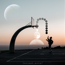 sunset silhouette basketball fantasy planet moon star orient_arts madewithpicsart heypicsart makeawesome picsart freetoedit