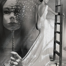 laceshadow blackandwhite woman beautiful mask disintegrating hand ladder checkerboard chesspiece queen darkandlight imagination myimagination stayinspired create creativity surreal madewithpicsart freetoedit
