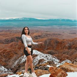 girl outfit sky nubes clouds mountain montañas landscape paisaje nature remixit freetoedit