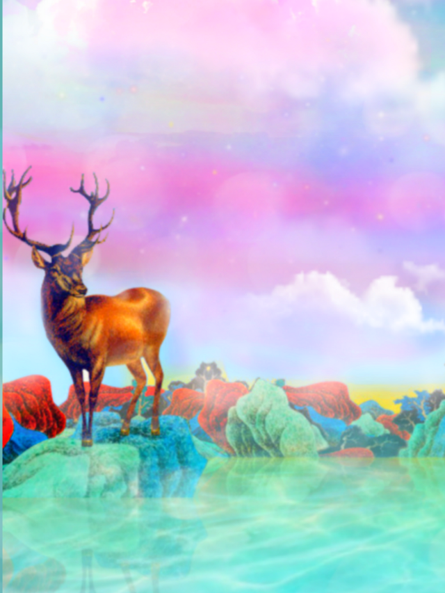 #landscape #scenery #naturesbeauty #deer #cloudsandsky #watercolors #colorful #pastelcolors #colorlove #picsarteffects #bokehbrush #artisticedit #becreative #makeawsome #heypicsart #myedit #madewithpicsart