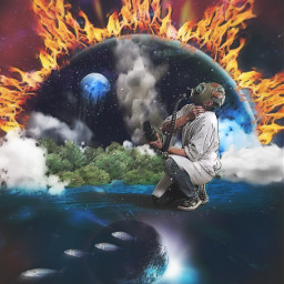 world forest fire burning earth gasmask man breathing flames fishes planet freetoedit