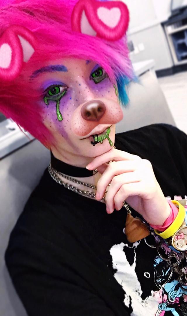 🎀💚 Slime Monster 💚🎀 - instagram: cazfhey - #cazfhey #slime #monster #kawaii #cute #creepycute #pastel #pastelgoth #pastelmakeup #pastelgore #pastelguro #drip #pinkhair #cuteboy #kawaiiboy #anime #animehair #animeboy #harajuku #emo #emoboy #piercings #fashion #selfie #spooky