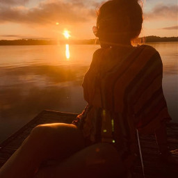 picsartchallenge myart myedits noedits girl sunset beautiful lake clouds warmth pcgoldenhour goldenhour