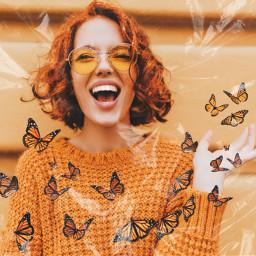 butterfly butterflyaesthetic art orange ripple aesthetic heypicsart freetoedit