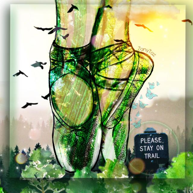 #kinora #madewithpicsart #lovepicsart #picsart #ballerina #balletshoes #frame #shadow #greenaesthetic #green #nature