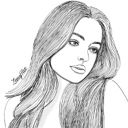 color portrait addisonrae outline illustration myart drawnbyme outlines outlineart hairart face colorme freetoedit