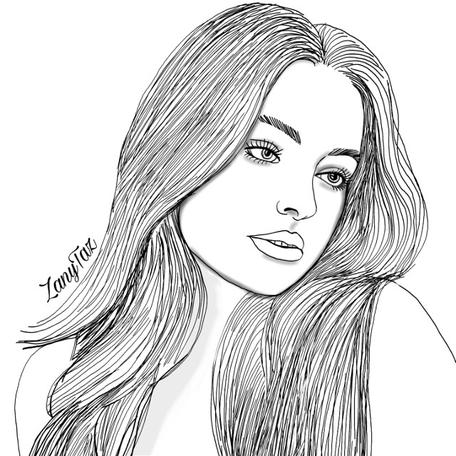 This girl is just beautiful. I will leave it to you guys to #color her up nicely 😉🌟👍 #portrait of @addisonraev #addisonrae #outline #illustration #myart #drawnbyme #outlines #outlineart #hairart #face #colorme #freetoedit Thank you!! 🌷🌿