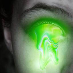 neongreen neon girl eye eyes meltingeye melting radioactive freetoedit