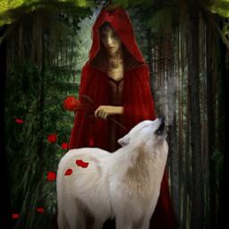 freetoedit fantasy woman redhood whitewolf forest beautyofnature beautyallaround madewithpicsart myimagination myedit
