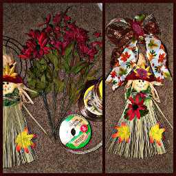 freetoedit crafts diy fall autumn wreath dollartree scarecrow leaves flowers bow ribbon fun