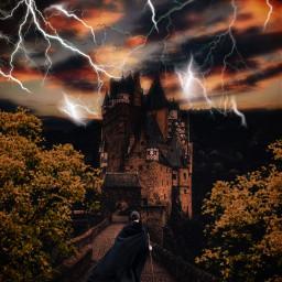 freetoedit art visualart view background castle lightning dark walking journey traveller palace abandoned heypicsart editbyme editedbyme