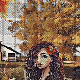 pug dog petsandanimals girl art house farm trees flowers effects fall autumn homescreencustomization