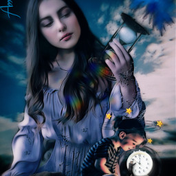 time woman girl watches bluesky freetoedit