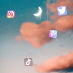 wallpaper app tiktok instagram twitter picsart cloud hang string moon sky freetoedit
