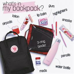 backtoschool school backpack whatsinmybag whatsinmybackpack bag niche collage aesthetic highschool schoolsupplies middleschool pink red magazine teen girls freetoedit