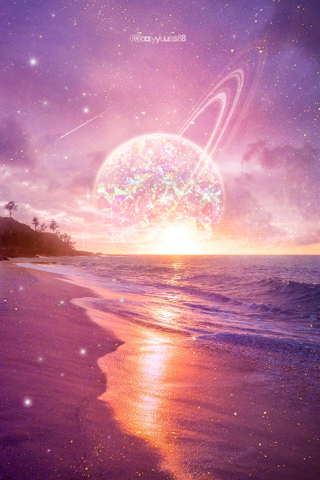 Tutorial♡https://youtu.be/Ikna1j-66uM         Happy Happy weekend🥳         #sparkle #holographic #spaceart #sunrise #sunset #planets #shootingstars #sky #beach #shine #light #unsplash #madewithpicsart #madewithlove #myedit #myart #freetoedit