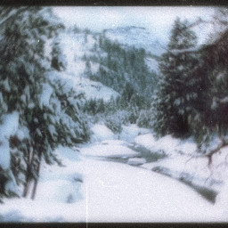 landscape snow cold mountain trees aesthetic vhs freetoedit