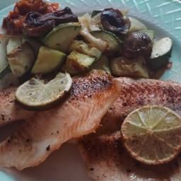 fish roastedvegetable food dinner tilapia
