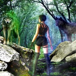 freetoedit wolfs woman fighter cool