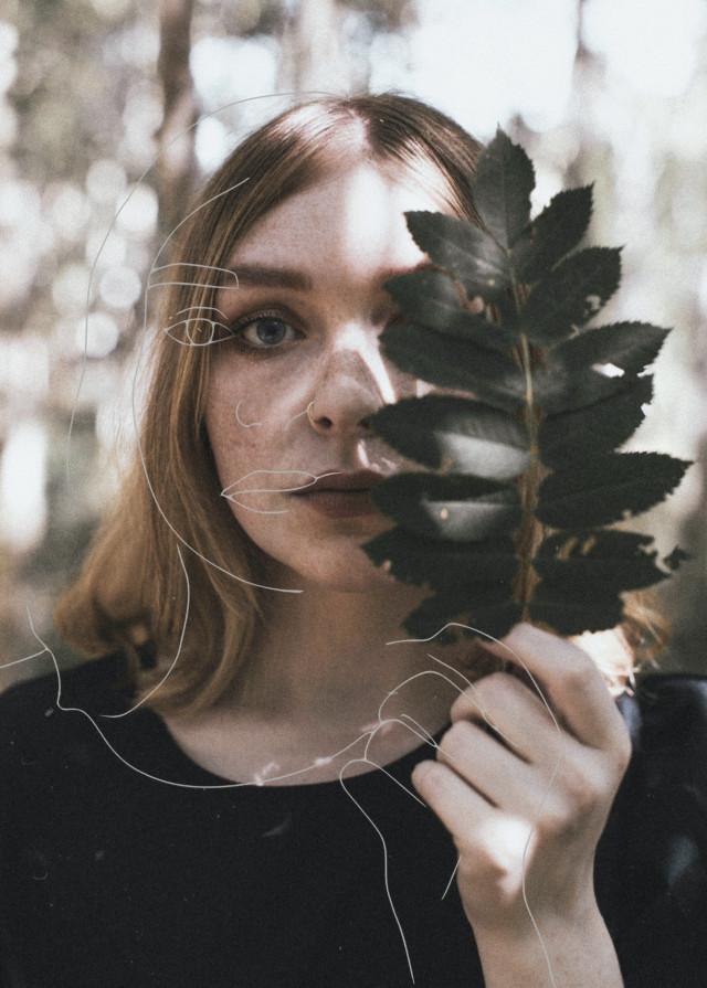 #woman #leaf #sketch #freetoedit #idk
