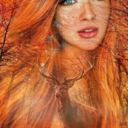 autumn redhair orange woods forest orangecolor lady woman face superposition freetoedit