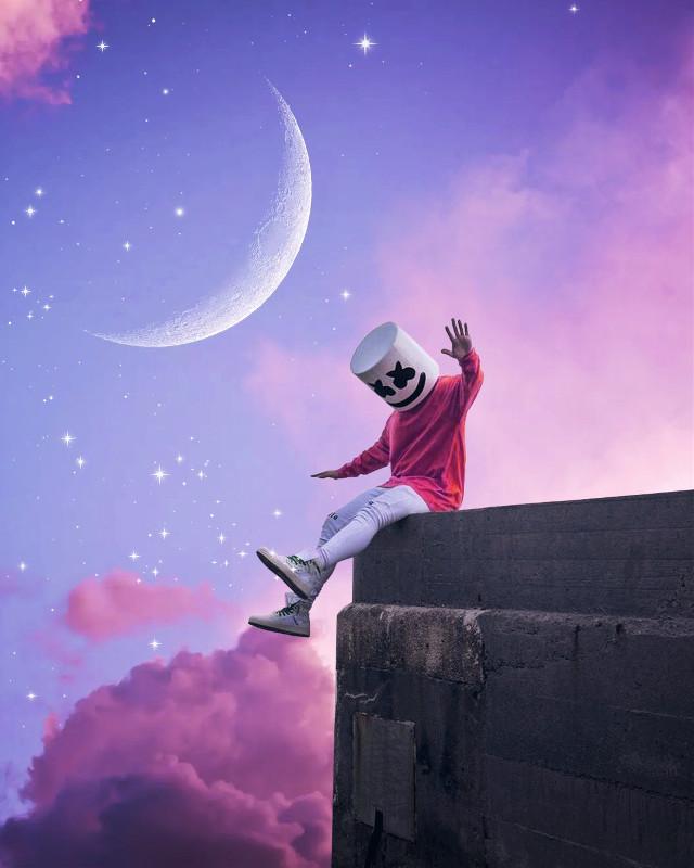 high five #marshmello #moon #mellogang  #freetoedit