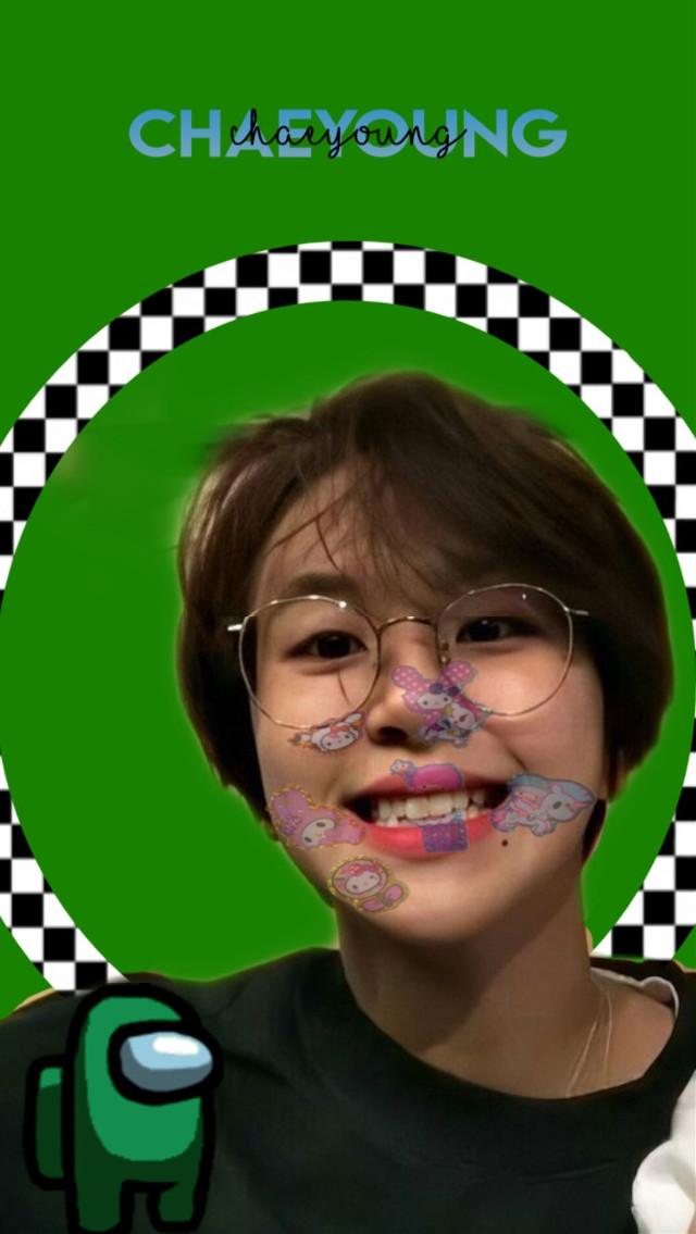 #Chaeyoung#Twice#My melony#Among us#Checkerd#green#Kpop