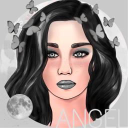 black white angel blackhair aesthetic freetoedit
