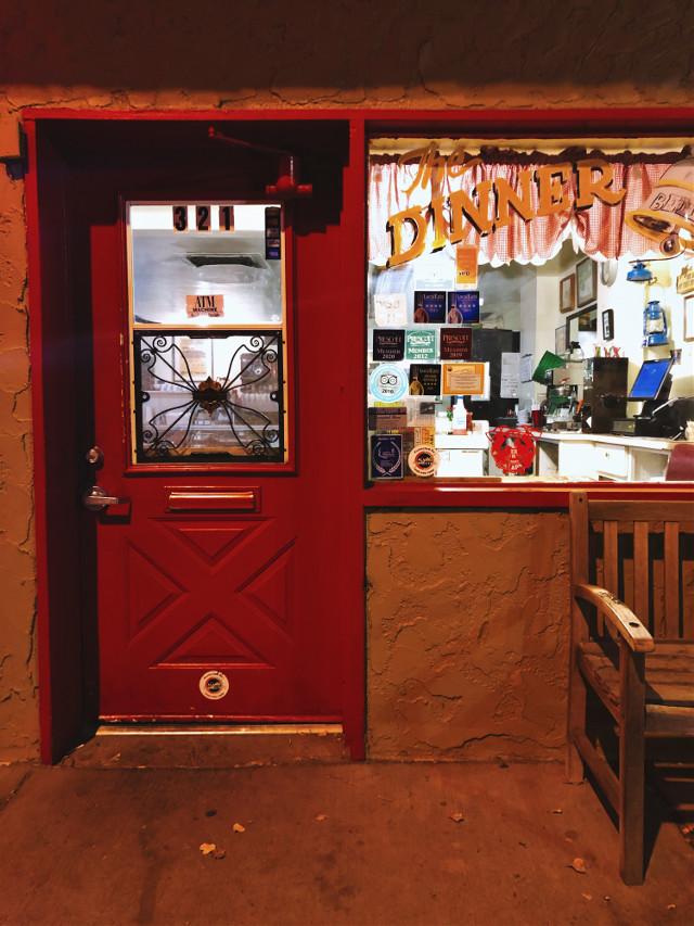 #restaurant #diner #store #storefront #red #orange #door #wall #bench #window #open #city #town #village #arizona #retro #photography #urban #shadow #words #food #freetoedit #remixit