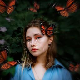edit picsart madewithpicsart girl model face zoomfocal visualart orange butterflies insects creative freetoedit