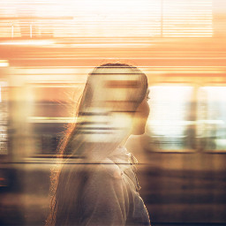 doubleexposure train trainstation woman freetoedit