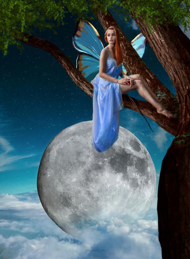 Luna !🙃 Moon!🙃 #freetoedit #myedit #editedbyme #madewithpicsart #moon #fullmoon #surreal #night #nightsky #araceliss #heypicsart #fantasy #girl #fairy