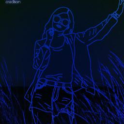 freetoedit neonart girl girloutline bluegirl